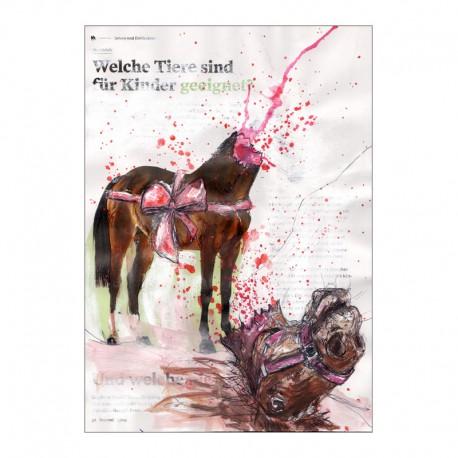 HAUSTIER »Pferdchen« zeichnung in mischtechnik