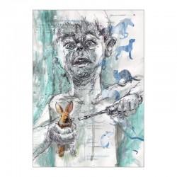 HAUSTIER »Häschen« zeichnung in mischtechnik