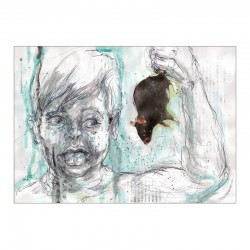 HAUSTIER »Schmuseratte« zeichnung in mischtechnik