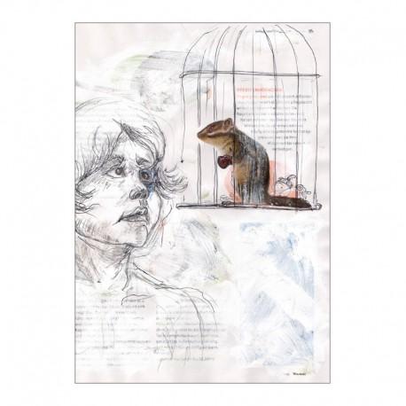 HAUSTIER »Streifenhörnchen« zeichnung in mischtechnik